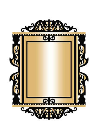 baroque room: Baroque Golden Rococo frame decor. Vector French Luxury rich carved ornaments and Wall Frames. Victorian Royal Style frame
