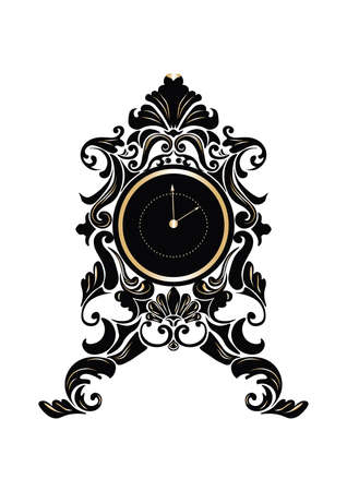 Baroque Classic Round Golden clock Vector. Rich ornamented Baroque Style clock