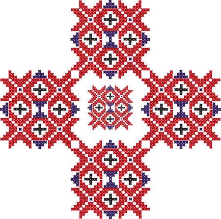 motif de broderie Vector rouge dans le style oriental. Conception vintage ornement abstrait traditionnel