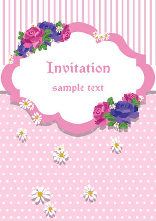 ornamented: Rose Invitation Card with lace ornaments and flowers. Vector ornamented card