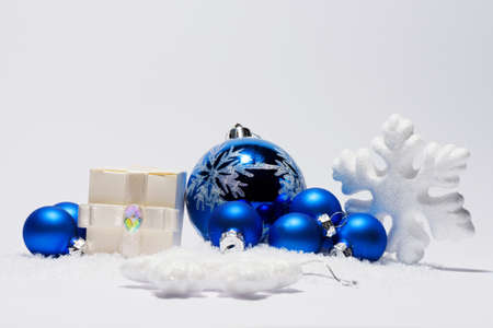 shinny: Merry Christmas trendy shinny decorations in blue color composition Stock Photo