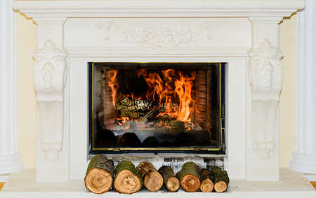 stone fireplace: Classic Fireplace in white stone with ornaments