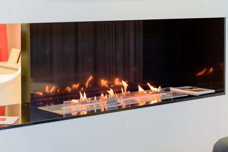fireside: Modern abstract fireplace design Stock Photo