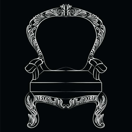 aristocracy: Baroque luxury style armchair furniture. Throne with luxurious rich ornaments. French Luxury rich carved ornaments decoration. Vector Victorian exquisite Style furniture. Vector sketch