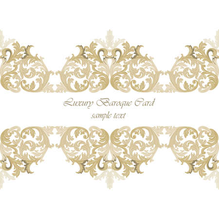 revive: Vintage Invitation Card or banner with Luxurious Baroque ornament. Gold color