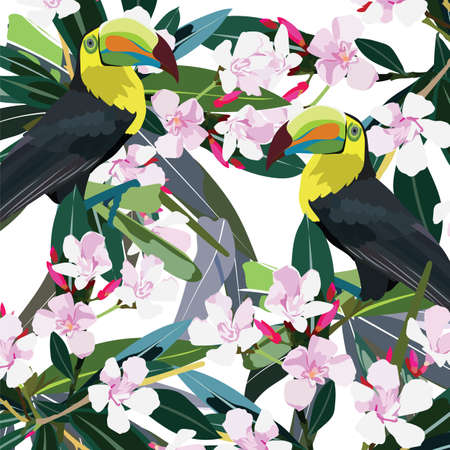 oleander: Toucan parrot and Pink flowers branch Vector. Exotic Summer floral background Illustration