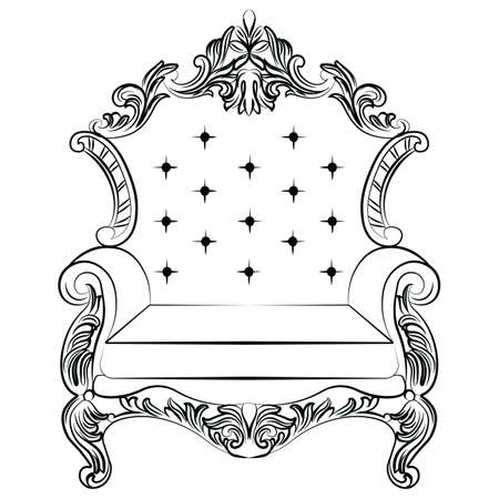 baroque room: Baroque luxury style armchair furniture. Throne with luxurious rich ornaments. French Luxury rich carved ornaments decoration. Vector Victorian exquisite Style furniture. Vector sketch