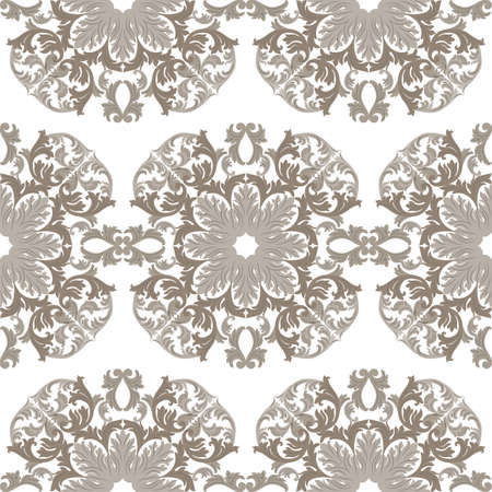 taupe: Vintage round Baroque ornament pattern. Vector Luxury damask decor. Royal Victorian texture for wallpapers, textile, fabric. taupe color Illustration