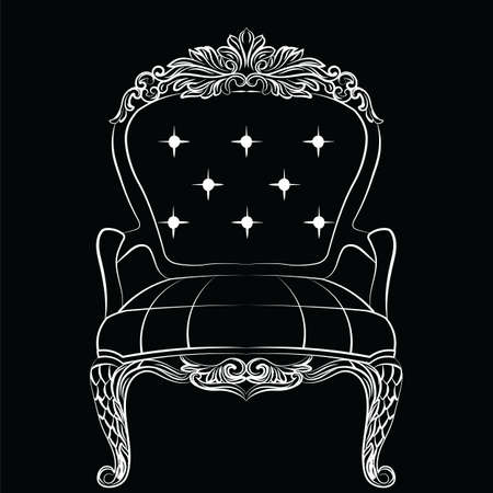 the aristocracy: Baroque luxury style armchair furniture. Throne with luxurious rich ornaments. French Luxury rich carved ornaments decoration. Vector Victorian exquisite Style furniture. Vector sketch