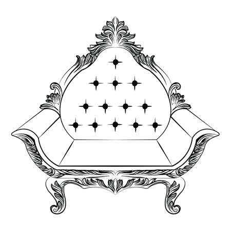 furniture detail: Baroque luxury style armchair furniture. Throne with luxurious rich ornaments. French Luxury rich carved ornaments decoration. Vector Victorian exquisite Style furniture. Vector sketch