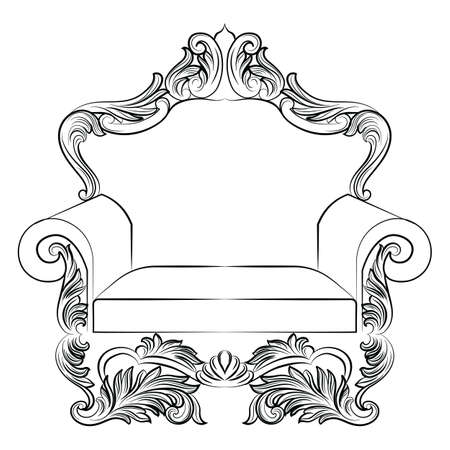 baroque room: Baroque luxury style armchair furniture. Elegant upholstery with luxurious rich ornaments. French Luxury rich carved ornaments decoration. Vector Victorian exquisite Style furniture. Vector sketch