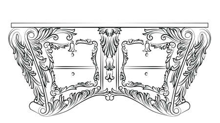 refine: Rich Baroque commode Table with drawers. French Luxury rich carved ornaments decorated furniture. Vector Victorian Royal Style table furniture Illustration