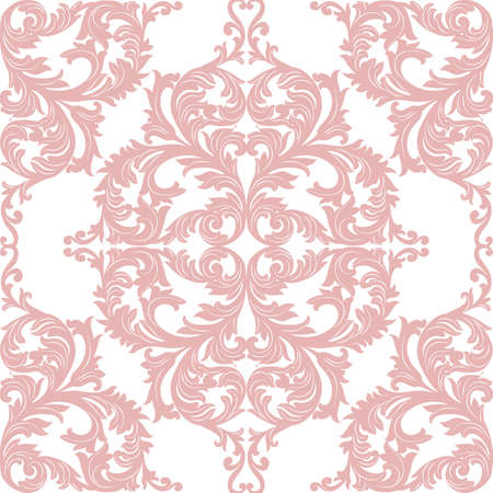 rococo: Vintage Baroque Rococo ornament pattern. Vector damask decor. Royal Victorian texture for wallpapers, textile, fabric Illustration