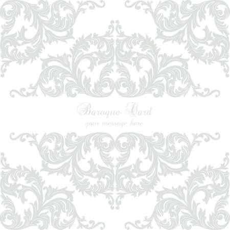 Vintage Baroque Rococo ornament card. Vector damask decor. Royal Victorian texture for wallpapers, textile, fabric. Rose quartz color