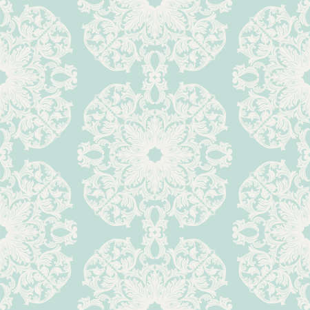 opal: Vintage round Baroque ornament pattern. Vector Luxury damask decor. Royal Victorian texture for wallpapers, textile, fabric. opal blue color