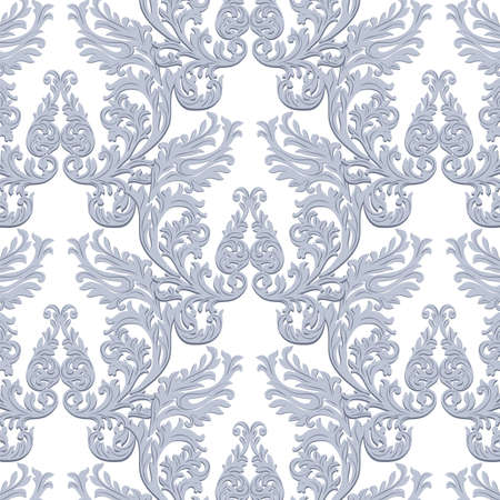 revive: Vintage Baroque Rococo ornament pattern. Vector damask decor. Royal Victorian texture for wallpapers, textile, fabric Illustration