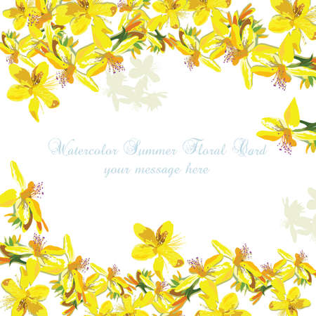 Beautiful Watercolor Yellow flowers card background Vector. Vintage Elegant Card illustration for Women's day, birthday, Wedding, Ceremony, Anniversary