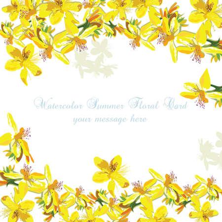 Mooie van Waterverf Gele bloemen kaartvector Als achtergrond. Vintage elegante kaart illustratie voor de dag van de vrouw, verjaardag, bruiloft, ceremonie, verjaardag Vector Illustratie