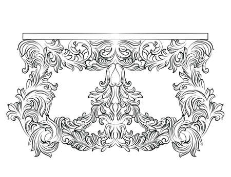 luxury furniture: Rich Baroque commode Table with drawers. French Luxury rich carved ornaments decorated furniture. Vector Victorian Royal Style table furniture Illustration