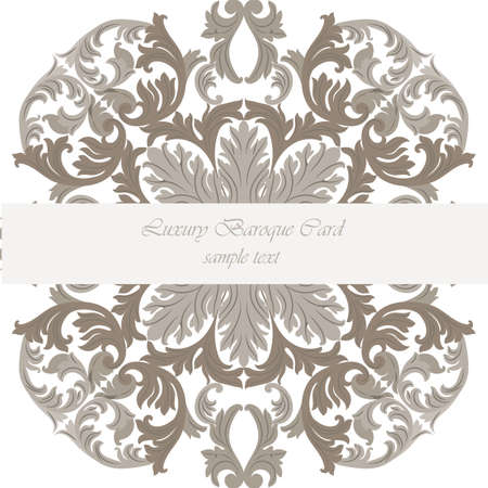 revive: Vitage Invitation Card with Luxurious Baroque ornament Illustration