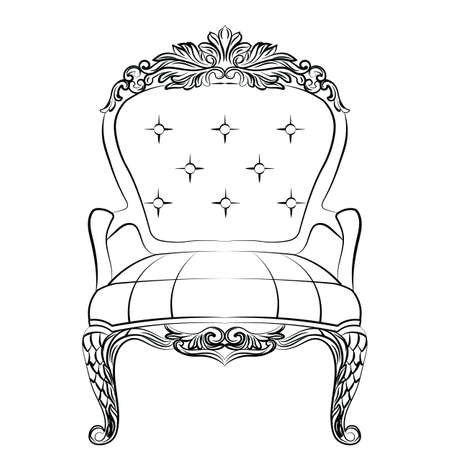 sophisticate: Baroque luxury style armchair furniture. Throne with luxurious rich ornaments. French Luxury rich carved ornaments decoration. Vector Victorian exquisite Style furniture. Vector sketch