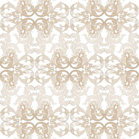 revive: Vintage Baroque ornament pattern. Vector Luxury damask decor. Royal Victorian texture for wallpapers, textile, fabric. Beige color
