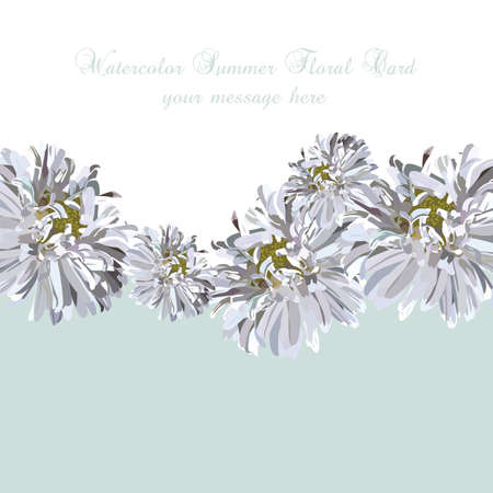 aster flower: Wedding Invitation delicate aster flowers card. Spring Summer Flower Banner for greeting cards and invitations of wedding, birthday, mothers day and other seasonal holiday