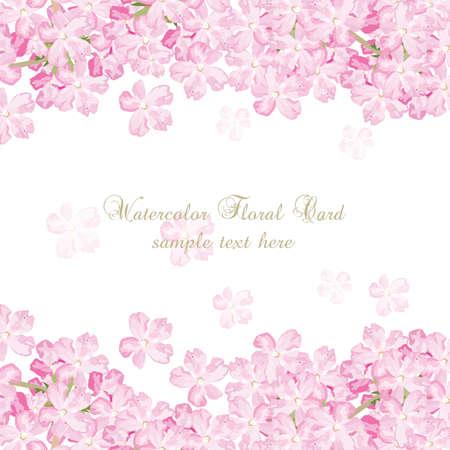 Empfindliche rosa Blumen-Karte. Aquarellblumen Illustration. Vintage elegante Karte Illustration für Tag der Frauen, Geburtstag, Hochzeit, Zeremonie, Jahrestag