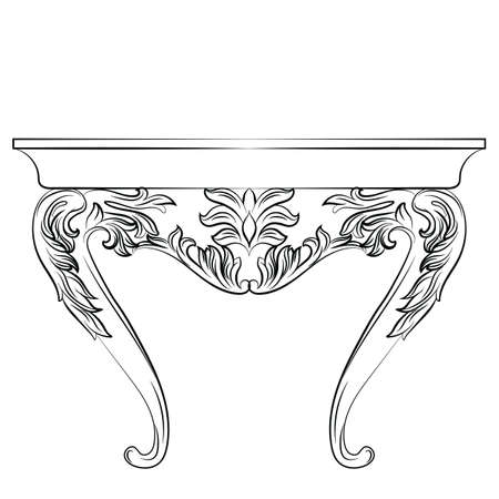 furniture detail: Rich Baroque commode Table. French Luxury rich carved ornaments decorated furniture. Vector Victorian Royal Style table furniture
