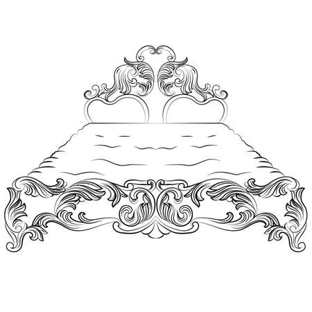 Baroque luxury style bed furniture. King size bed with luxurious rich ornaments. French Luxury rich carved ornaments decoration. Vector Victorian exquisite Style furniture. Vector sketch