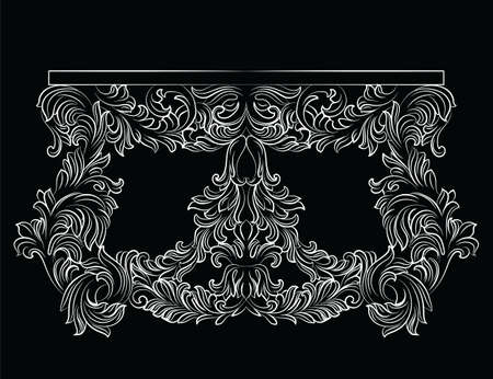 commode: Rich Baroque commode Table with drawers. French Luxury rich carved ornaments decorated furniture. Vector Victorian Royal Style table furniture Illustration