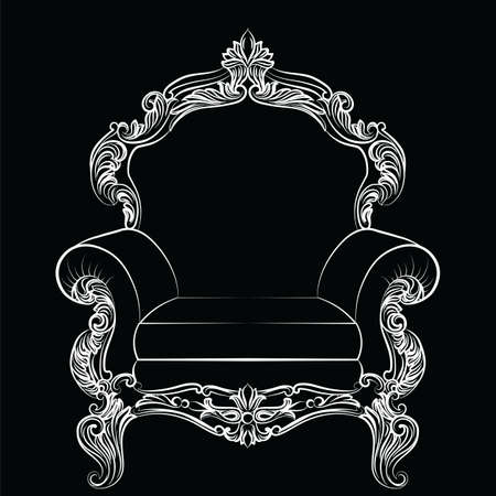 baroque furniture: Baroque luxury style armchair furniture. Throne with luxurious rich ornaments. French Luxury rich carved ornaments decoration. Vector Victorian exquisite Style furniture. Vector sketch