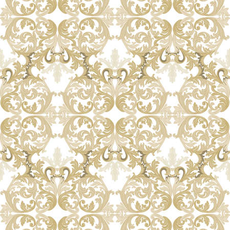 revive: Vintage Baroque ornament pattern. Vector Luxury damask decor. Royal Victorian texture for wallpapers, textile, fabric. Gold color