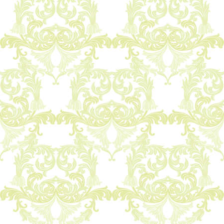 Vintage Baroque ornament pattern. Vector Luxury damask decor. Royal Victorian texture for wallpapers, textile, fabric. Luminary green color
