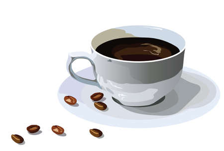 Fresh Coffee cup with beans isolated on white Vector