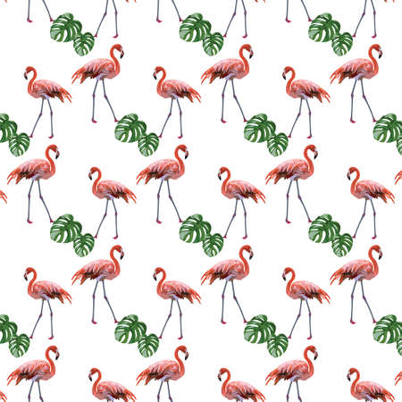 subtropics: Flamingo birds and palm leaves pattern Vector. Tropic Exotic background Illustration