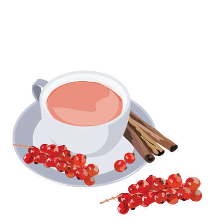 colds: Cup of tea with cranberry and cinnamon on white background. Vector illustration