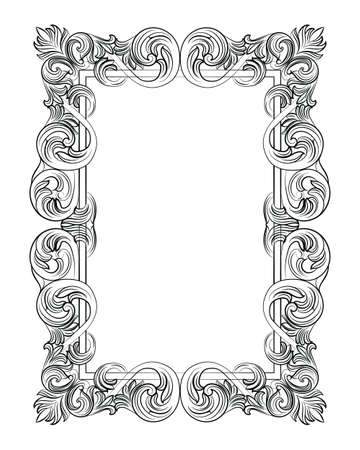 wealthy: Vintage Imperial Baroque Rococo frame. Vector French Luxury rich carved ornamented Wall Frame. Victorian wealthy Style structure