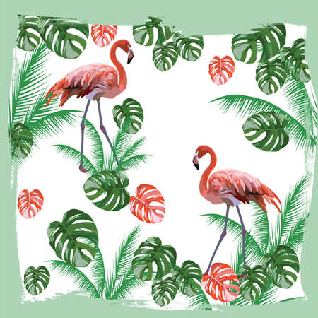 subtropics: Flamingo birds and palm leaves Vector card. Tropic Exotic background