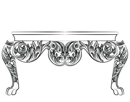 baroque furniture: Rich Baroque commode Table. French Luxury rich carved ornaments decorated furniture. Vector Victorian Royal Style structure Illustration