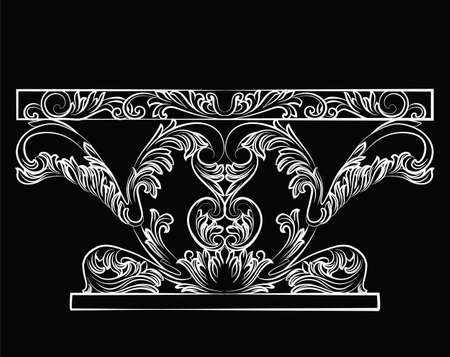baroque furniture: Rich Baroque Table. French Luxury rich carved ornaments furniture. Vector Victorian Royal Style decorated furniture. Black background