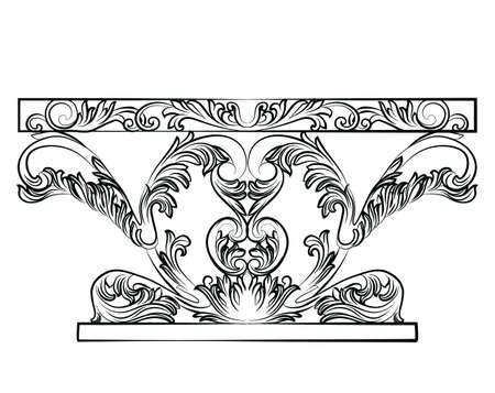 baroque furniture: Rich Baroque Table. French Luxury rich carved ornaments furniture. Vector Victorian Royal Style decorated furniture