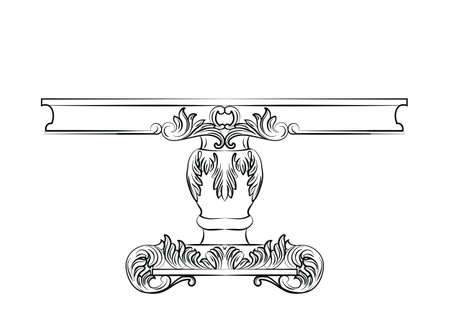 commode: Rich Baroque commode Table. French Luxury rich carved ornaments decorated furniture. Vector Victorian Royal Style structure Illustration