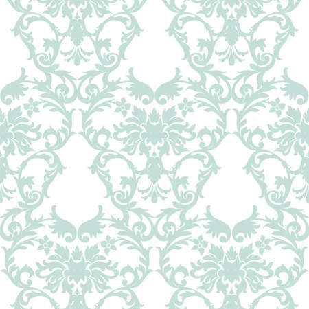 opal: Vector Baroque Vintage floral Damask pattern. Luxury Classic ornament, Royal Victorian texture for wallpapers, textile, fabric. Opal blue color