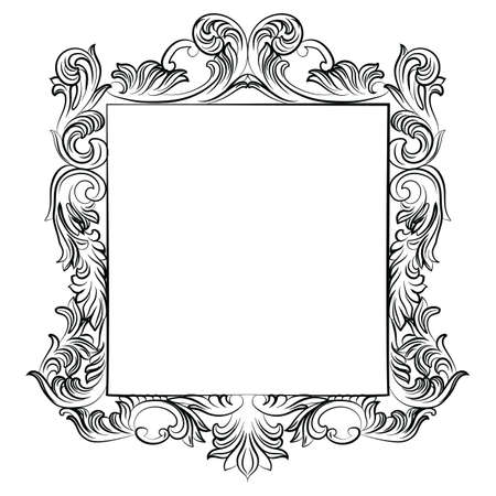 wealthy: Vintage Imperial Baroque Rococo frame. Vector French Luxury rich carved ornamented decor. Victorian wealthy Style structure