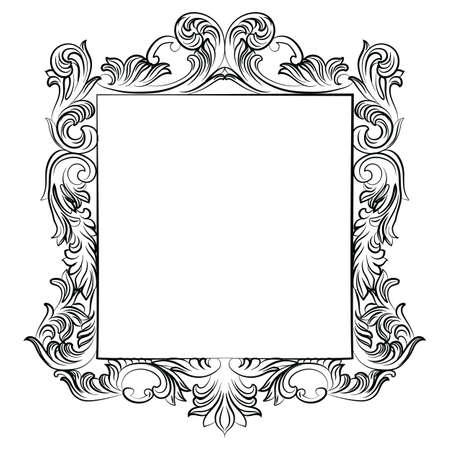 ビンテージの帝国バロック ロココ フレーム。ベクトル フランス高級リッチには、飾られた装飾が刻まれています。裕福なスタイルのビクトリア朝の構造