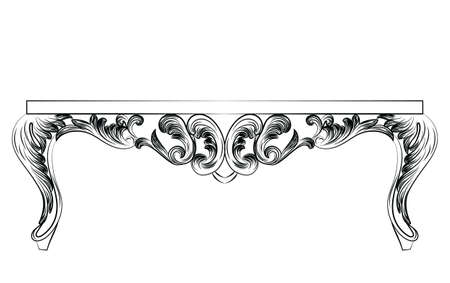 console table: Rich Baroque commode Table. French Luxury rich carved ornaments decorated furniture. Vector Victorian Royal Style structure Illustration