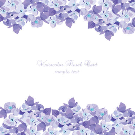 purple flowers: Spring Summer Lilac floral greeting card Vector. Invitation note for wedding, birthday or other holiday. Summer purple flowers background