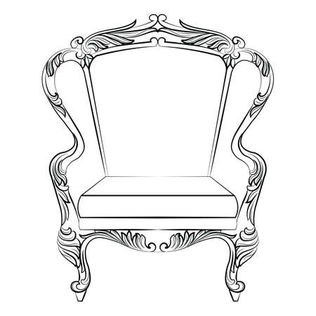 baroque room: Fabulous Rich Baroque Rococo Armchair. French Luxury rich carved ornaments furniture. Vector Victorian exquisite Style ornamented chair