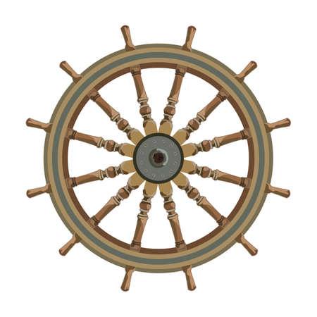 ship steering wheel isolated. vector nautical maritime theme